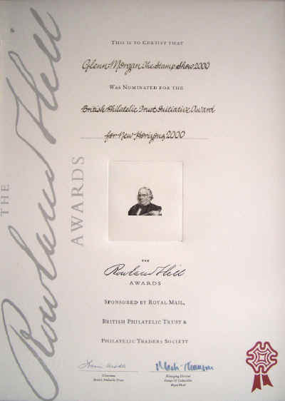 Rowland Hill Award Certificate